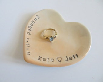 ring dish, wedding ring holder, Engagement Gift with date, Peach OMBRE, Gift Boxed, Made to Order