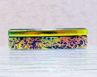 Small Dichroic Fused Glass Barrette Hair Barrette Copper Gold Blue Barrette Under 25 Dollars Dichroic Jewelry Gifts for Her Under 25 Dollars