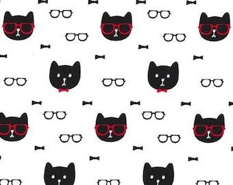 White and Black Cat Print Fabric - Cool Cats from Michael Miller 1 yard