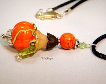 Pumpkin Patch Necklace, Lampwork and Sterling Dangle Necklace. OOAK Handmade Necklace. CKDesigns.US