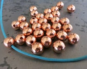 Round Copper Beads, 8mm Hollow Beads, Seamed Copper Beads, 1.8mm Hole, Made in USA