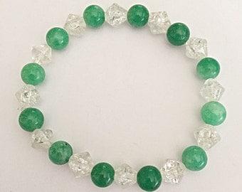 Green Jade Bracelet - Green Bracelet - Gemstone Bracelet - Elasticated - Spiritual