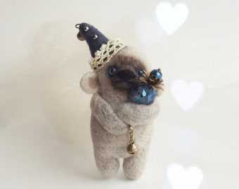 Shy Grayish Clown Bear , Felted Animal Brooch, Bear Jewelry