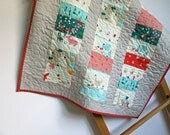 Small baby quilt, red and aqua, stroller quilt, cot pram quilt, baby shower gift