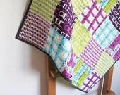 Baby quilt, stroller blanket, cot quilt, pram quilt, chairs sofas, purple green, baby shower gift