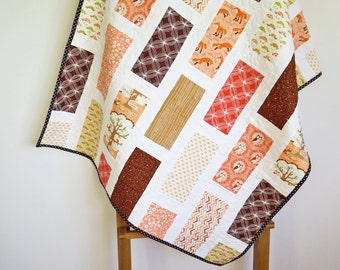 Baby girl quilt, nursery bedding, baby blanket, orange coral peach brown beige