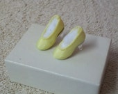 Vintage Doll Shoes Tiny Yellow Satin High Heels