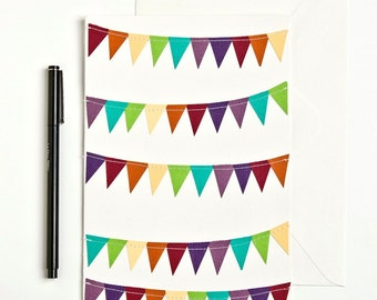 Extra Large Card, Birthday Card, Oversized Card, Rainbow Stationary, Colorful Stationery, Cheer Up Card Big Greeting Card, Bunting Flag Card