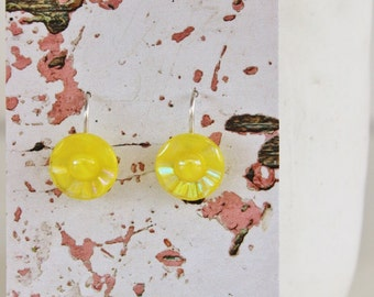 Earring Upcycled Vintage Antique Czech Glass Button Sterling Silver Jewellery Australia Yellow Pearlised