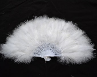 7 marabou feather fans  in ivory