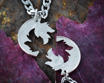 Wolf couples Necklaces, Wolves Jewelry, Interlocking Puzzle set, Made from a Hand Cut Quarter