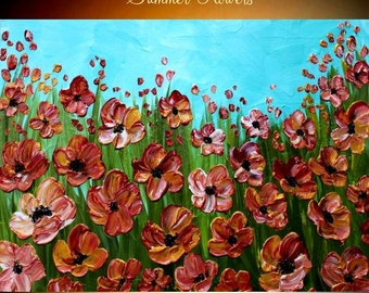 ORIGINAL contemporary mporary impasto abstract  Poppy painting by Nicolette Vaughan Horner