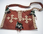 Vintage 1960s - 1970s Bohemian Satchel Messenger Bag w/ Cowrie Shells & Glass Beads - Janis Joplin - Hippy Bag -  Boho - Bohemian Leather