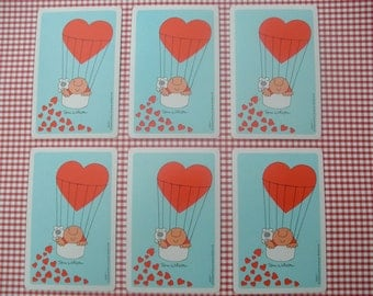 Vintage Playing Cards Ziggy Tom Wilson Air Balloon Red Hearts Light Blue Mixed Media Card Making Scrapbooking Assemblage 70s Paper Ephemera