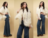 60s 70s Vtg Huge White MARABOU Shaggy Feather Oversize CAPE Shawl / GLAM Rock N Roll Feather Wrap / One Size Fits All / Emily Wetherby