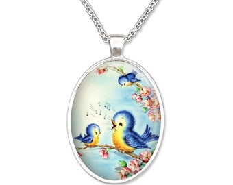 Sing Like a Bird Joyful Bluebirds Plain Oval Pendant Necklace Pendant Art Pendant Photo Graphic Pendant