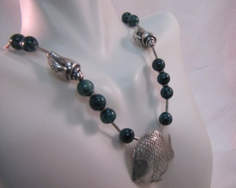 c1980's Bali Green Tree Agate and Silver Fish Pendant and Seashells