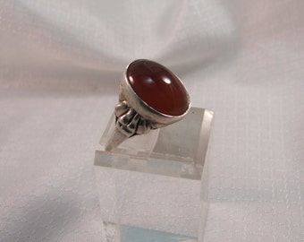 Victorian Inspired Carnelian and Sterling Ring, size 17mm (6.5)