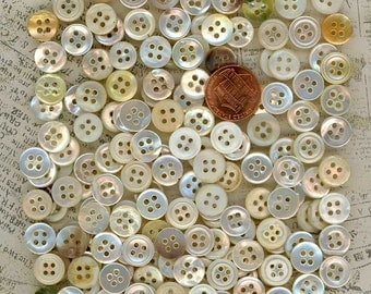 154 White Mother of Pearl Shell MOP Sewing Buttons - Just over 3/8 inch 10mm - Destash Lot