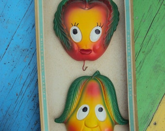 1970 Miller Studio Anthro Apple and Pear Hot Pad Holders NOS