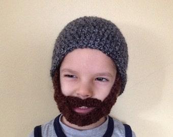 Handmade Crochet Beard hat, beard beanie. Black and gray mixed hat with brown beard, beard hat, men beard hat, baby beard hat