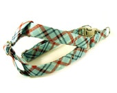 Plaid in Aqua Blue Dog Step in Harness