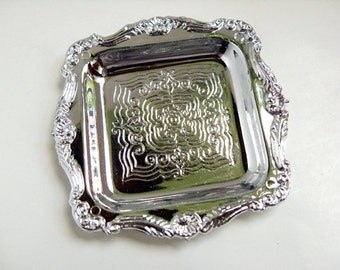 Silver Tray- 3 inch square silver dish, silver plate, square plate, silver wedding decor, tea party decor, doll accessory, silver ring dish