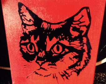 Stunning cat canvas 8 x 8 inches  handmade and sealed