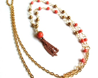 Tassel necklace in gold and coral, with vintage japanese tassel