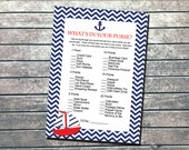 Nautical Shower Game - What's in Your Purse - INSTANT DOWNLOAD Printable - DIY Blue Red Nautical Sailboat