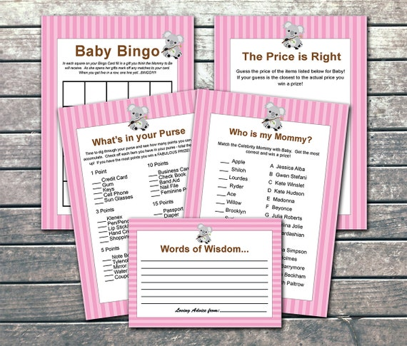 koala baby shower games in pink instant download printable diy baby