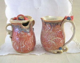 Hand Thrown Stoneware Pottery Sugar & Creamer, Porcelain Flowers, Lace Textured, Coral and Cream,