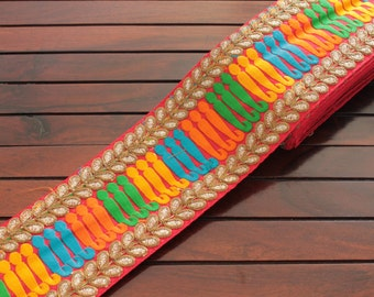 1 Yd Red Trim-Multi Color Thread Embroidered Fabric Trim-Red Silk Sari Border Trim-Art Quilts Red Silk Fabric Ribbon By The Yard