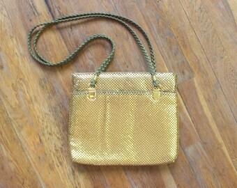 Vintage GOLD Purse / Metallic Mesh Large Handbag / Women's Spider Mesh Bag