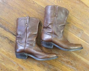 10 1/2 C Men's Cowboy BOOTS / Brown Leather Western Shoes / Vintage Men's Boots