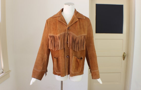 Leather Fringed Jacket / 1960's Rusty Brown Suede Coat / Vintage Medium Women's Outerwear