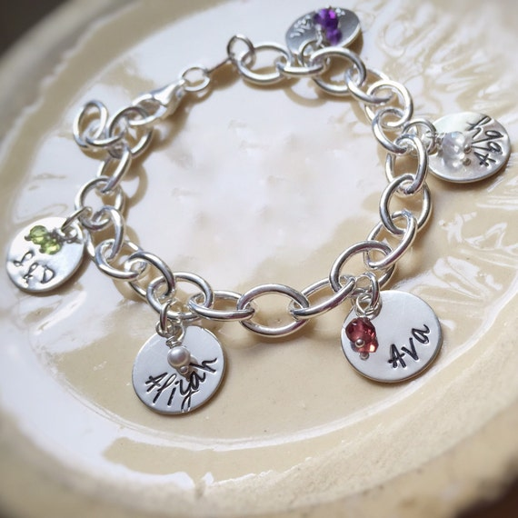 personalized charm bracelet name birthstone grandmother