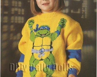 Leonardo Teenage Mutant Hero Turtles sweater knitting Pattern in Double Knit yarn to fit 26 to 40 inch chest