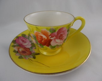 Vintage Demitasse Teacup and Saucer, Vintage 1940's, Made in Occupied Japan, Merit China, Yellow with Pink Roses