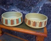 Mid Century ZION POTTERY Pair Hand Crafted Planter Bowl Ribbed Home Decor Mt. Zion