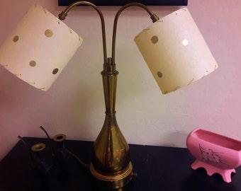 Retro Lamp Double Goose Neck 3 Way Lighting Brass Base Dual Gold Polka Dot Drum Shade Retro Lighting