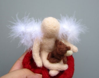 Child loss, soft sculpture, MADE to ORDER angel baby, needle felted heart, angel teddy bear, grief gift, SIDS, stillborn, miscarriage