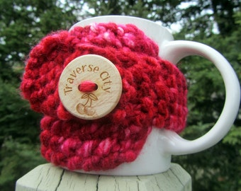 TRAVERSE CITY Up North Michigan Coffee Cup Cozy - Perfect for Gift Giving or Keeping and Environmentally Friendly
