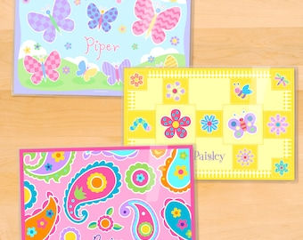 Olive Kids Personalized Flowers Placemats, Girls Placemat Set of 3, Laminated Placemats, Butterfly Placemat, Flowers Placemat, Pink Paisley
