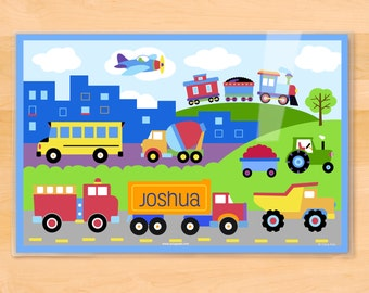 Olive Kids Personalized Trains, Planes & Trucks Placemat, Kids Placemat, Transportation Placemat, Vehicle Placemat, Laminated Placemat