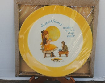 Vintage Dear Hearts Keepsake Collector's Plate A Good Friend Makes A Nice Day Nicer Gibson Greetings Cards