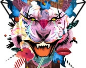 """Digital fine art print """"Tiger girl loves diamonds"""" - size A3 - only in APRIL with every purchase get one additional print for free!"""