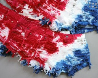 Custom Made Vintage 4TH OF JULY Studded American Flag Tie Dye Stars & Stripes Cut Off Shorts