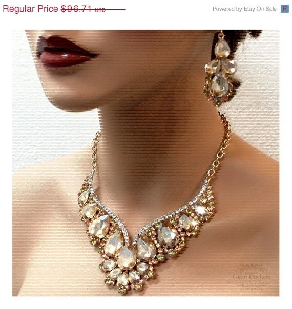 Wedding jewelry set bridal back drop bib necklace by for Jewelry for champagne wedding dress
