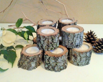 TREASURY ITEM - 75 Tree branch Candles - Rustic wedding - Wedding favors - Wood candles - Holiday candles - Centerpieces